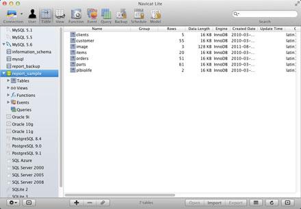 Freeware - Navicat Lite for Mac OS X (Cross-Database Admin Tools for MySQL, SQLite, SQL Server, Oracle and PostgreSQL)